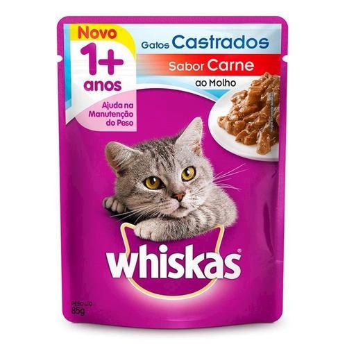 Ração para Gatos Castrados Sache Saabor Carne WHISKAS 85g