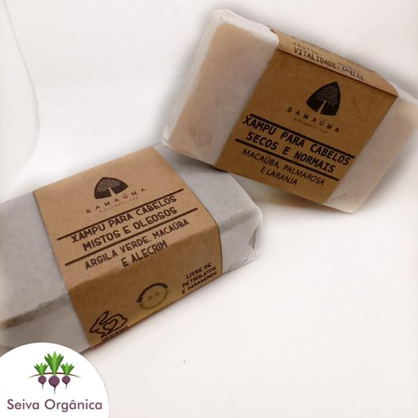 Xampu em barra para cabelos mistos e oleosos de macaúba, alecrim e copaíba Samaúma
