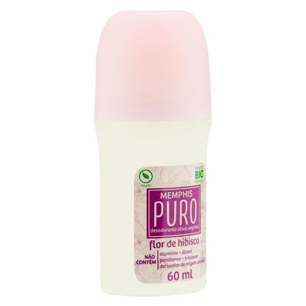 Desodorante Roll-On Vegetal Flor de Hibisco Memphis Puro 60ml