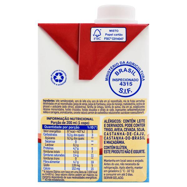 Bebida Láctea UHT Frutas Vermelhas Piracanjuba Caixa 500ml