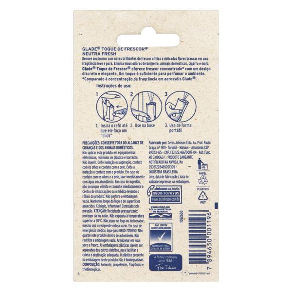 Odorizador de Ambiente Neutra Fresh Glade Toque de Frescor Blister 12ml Refil