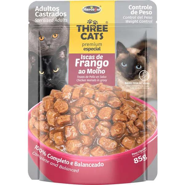 Sache Three 85G Cats Iscas Frango 85G