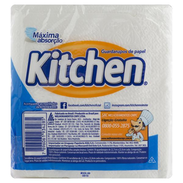 Guardanapo de Papel Folha Simples Ultra Macio Kitchen 22,7cm x 22,8cm Pacote 50 Unidades