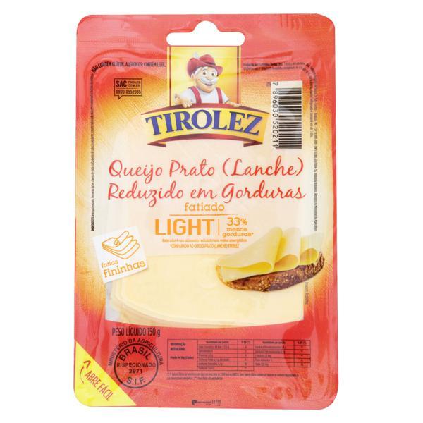 Queijo Prato Fatiado Light Tirolez 150g