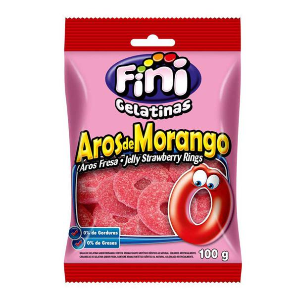 Bala Fini 100G Jelly Strawberry Bings Aros De Morrango
