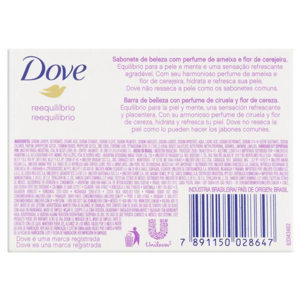 Sabonete em Barra Reequilíbrio Ameixa e Flor de Cerejeira Dove Go Fresh Caixa 90g