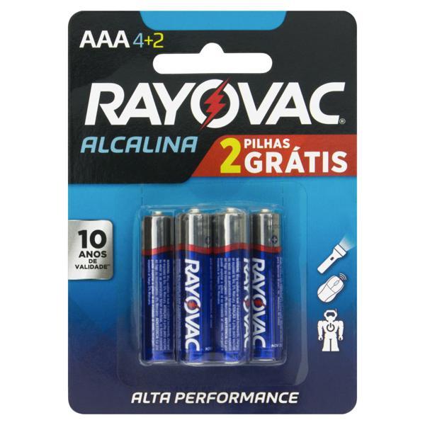 Pilha Alcalina AAA Rayovac 6 Unidades 1,5V Grátis 2 Pilhas