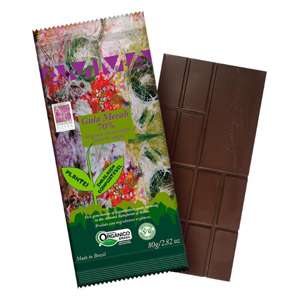 Chocolate Gul Merah 70% cacau com açúcar de coco 80g - Amma