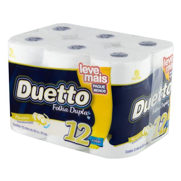 Papel Higiênico Folha Dupla Neutro Duetto 30m Pacote 12 Unidades Leve Mais Pague Menos