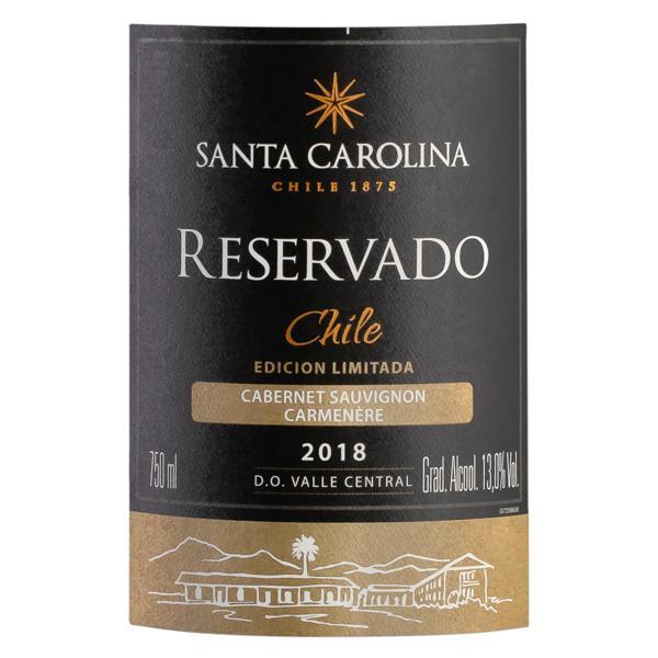 Vinho Chileno Tinto Meio Seco Reservado Santa Carolina Cabernet Sauvignon Carménère Valle Central Garrafa 750ml