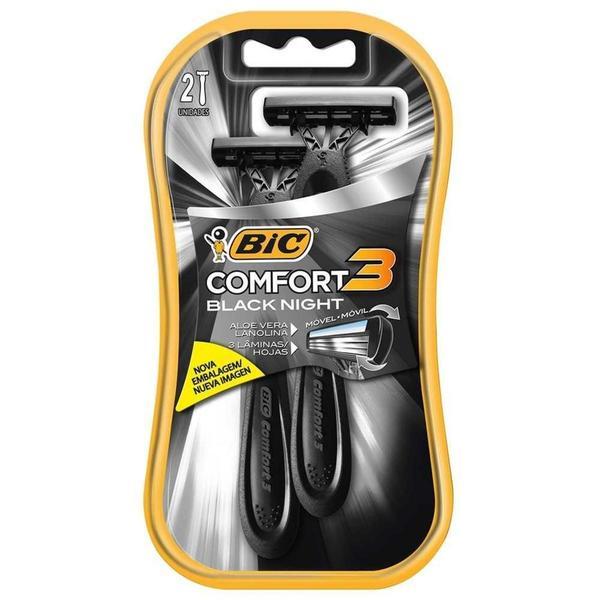 Aparelho de Barbear BIC Comfort 3 Lâminas Black Night com 2 unidades