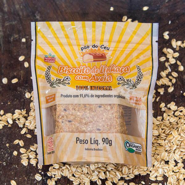 Biscoito de Linhaça Orgânico 100% Integral 90g - Pão do Céu