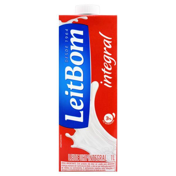 Leite UHT Integral Leitbom Caixa com Tampa 1l