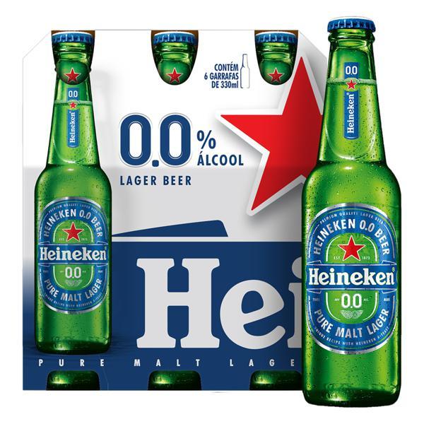 Cerveja Lager Premium Puro Malte Zero Álcool Heineken Garrafa 330ml