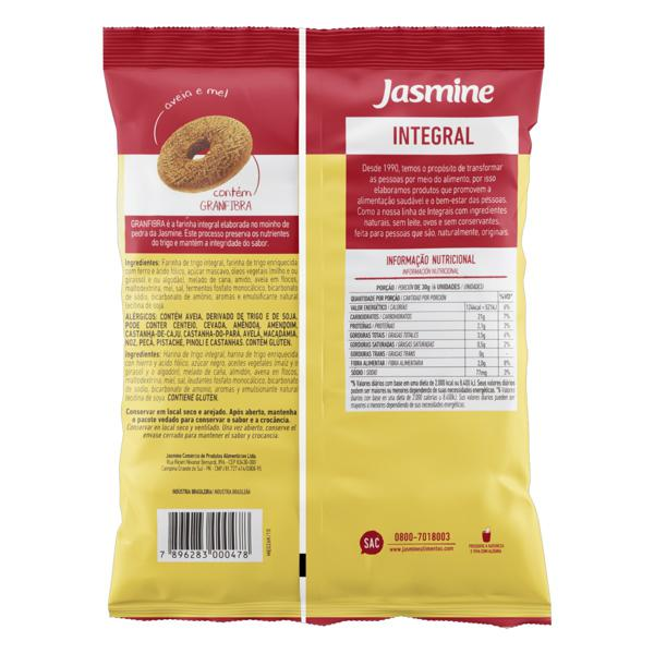 Biscoito Rosquinha Integral Aveia e Mel Jasmine Pacote 150g