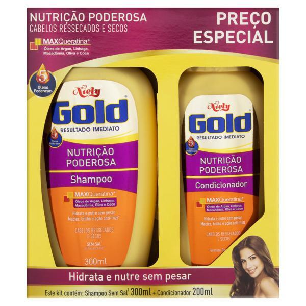Kit Shampoo 300ml + Condicionador 200ml Niely Gold Nutrição Poderosa