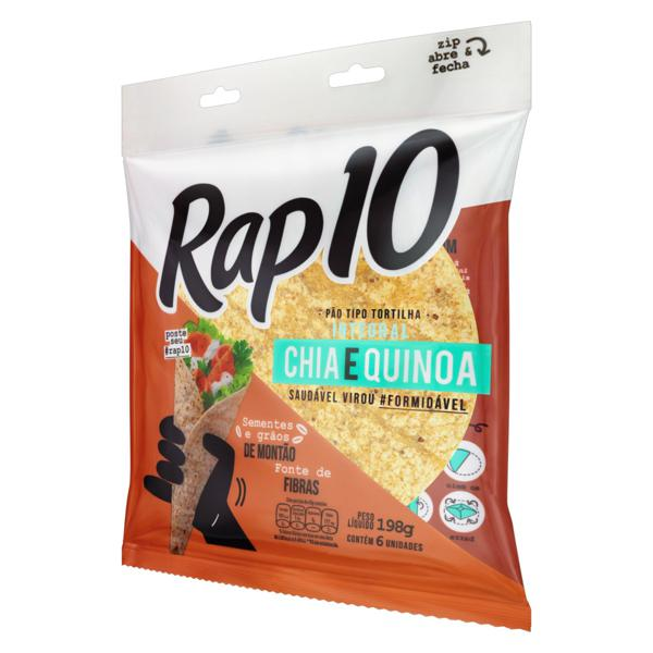 Pão Tortilha Integral Chia e Quinoa Rap 10 Pouch 198g