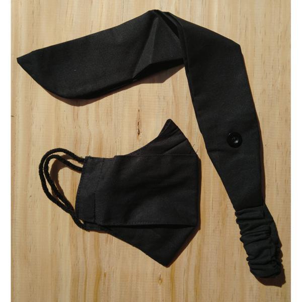 Kit laço e máscara adulto preto (formato 3D)