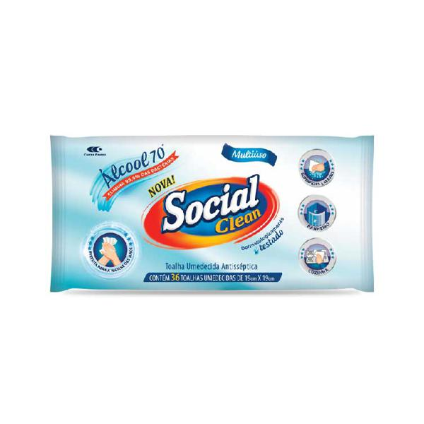 Lenço Umidecido SOCIAL CLEAN Alcool 70% 36un