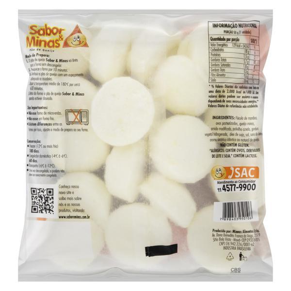 Pão de Queijo Congelado Lanche Tradicional Sabor & Minas Pacote 1kg