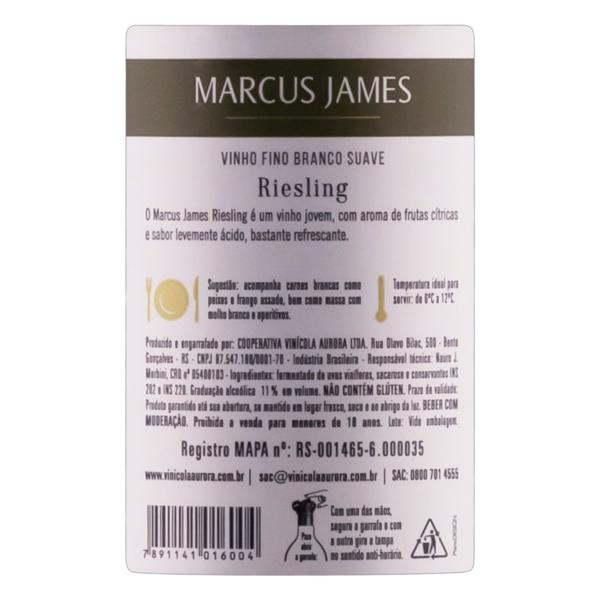 Vinho Brasileiro Branco Suave Marcus James Riesling Serra Gaúcha Garrafa 375ml