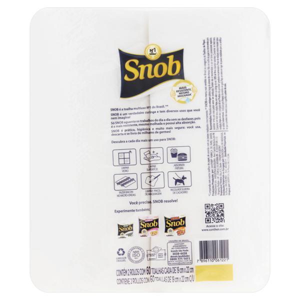 Toalha de Papel Folha Simples Snob 19cm x 22cm Pacote 2 Unidades