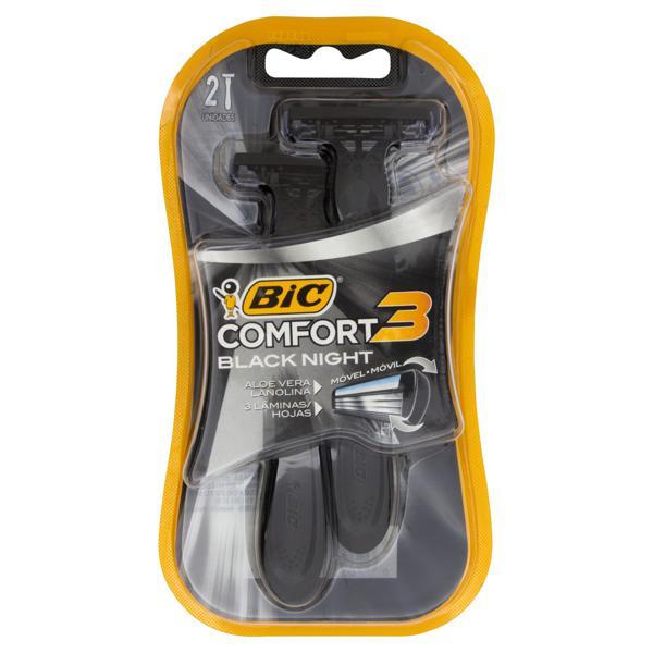 Aparelho Descartável para Barbear Bic Comfort 3 Black Night 2 Unidades