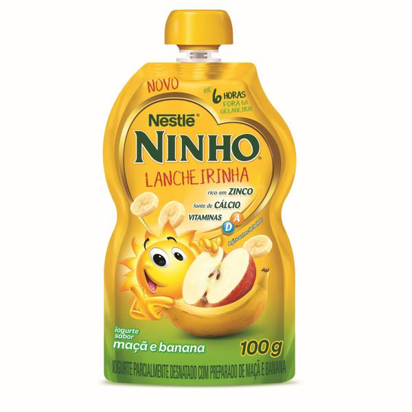 Iogurte Parcialmente Desnatado Maçã e Banana Nestlé Ninho Lancheirinha Squeeze 100g