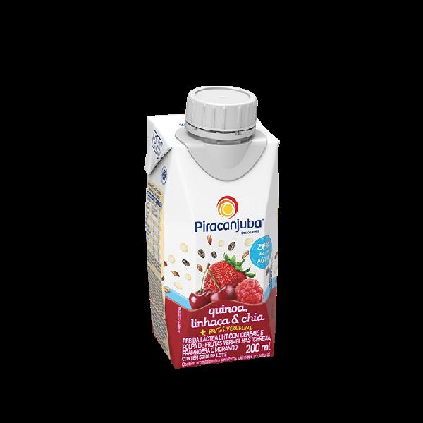 Bebida Láctea com Cereais Piracanjuba Zero Açúcar Sabor Frutas Vermelhas 200 ml