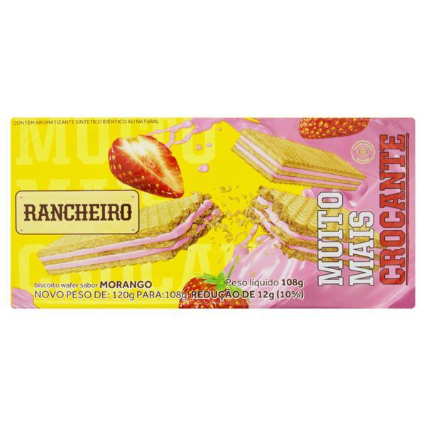 Biscoito Wafer Recheio Morango Rancheiro Pacote 108g