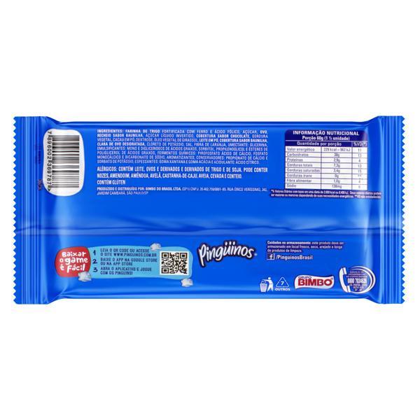 Bolo Chocolate Recheio Baunilha Cobertura Chocolate e Baunilha Pingüinos Pacote 80g