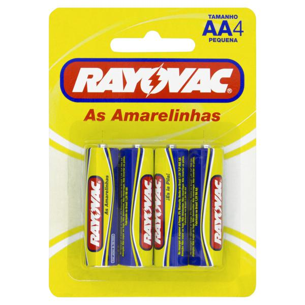 Pilha AA Rayovac As Amarelinhas Pequena 4 Unidades 1,5V