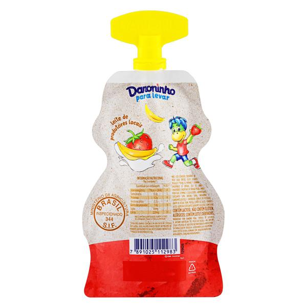 Petit Suisse Morango & Banana Danoninho para Levar Pouch 70g