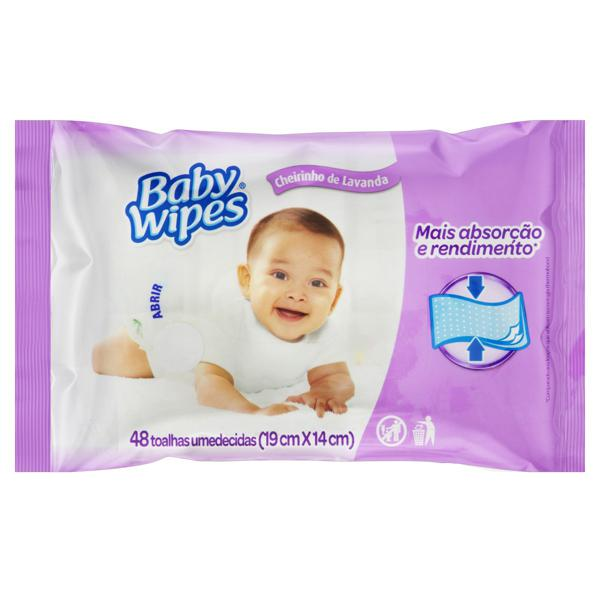 Toalha Umedecida Lavanda Baby Wipes Baby Wipes 19cm x 14cm Pacote 48 Unidades