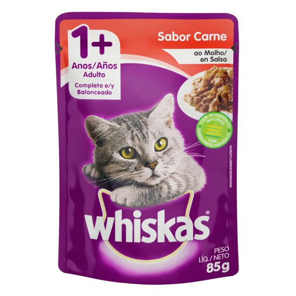 Alimento para Gatos Adultos 1+ Carne ao Molho Whiskas Sachê 85g