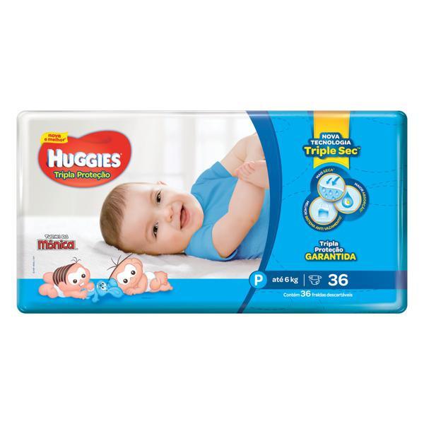 Fralda Descartável Infantil Huggies Tripla Proteção P Pacote 36 Unidades