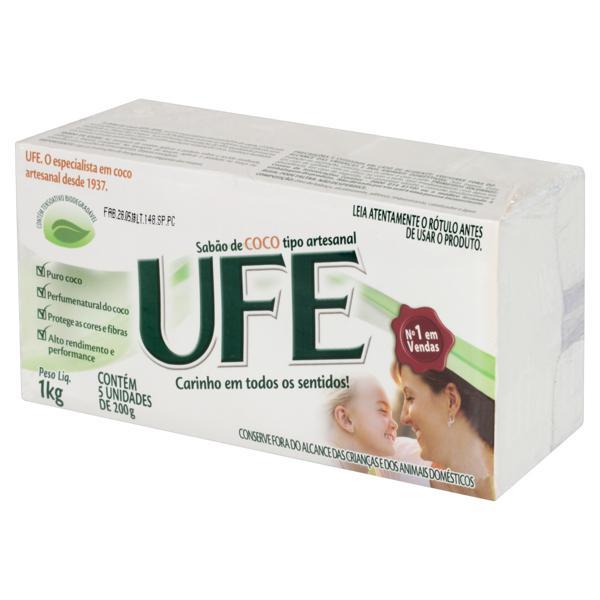 Sabão em Barra Artesanal Coco Ufe Pacote 1kg 5 Unidades