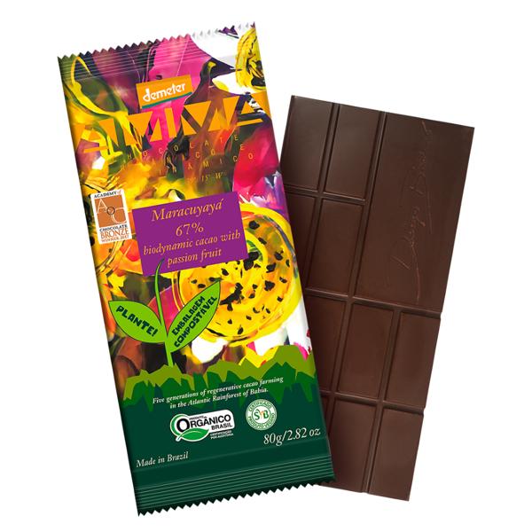 Chocolate Mracuyayá 67% cacau com maracujá 80g - Amma