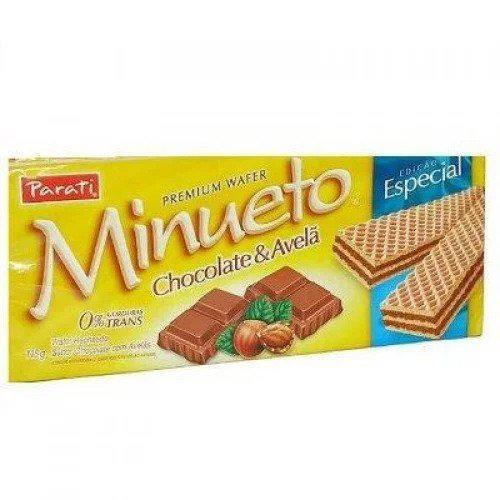 Biscoito PARATI Wafer Minueto Chocolate e Avelã 115g