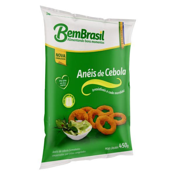 Anéis de Cebola Empanados Pré-Fritos Congelados BemBrasil Pacote 450g