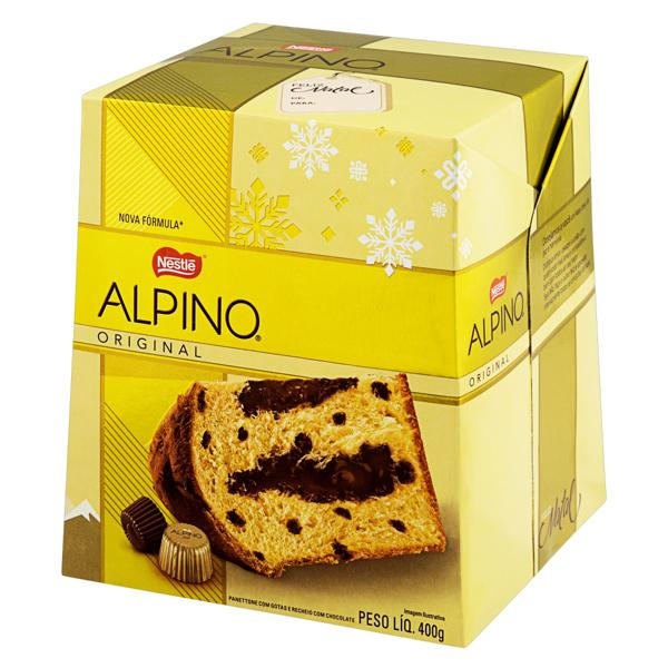 Panetone com Gotas e Recheio Chocolate Nestlé Alpino 400g