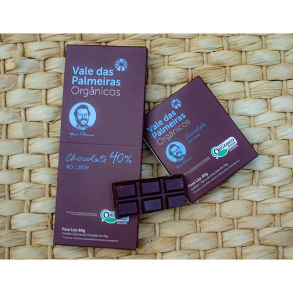 Chocolate orgânico 40% - ao leite - 80g