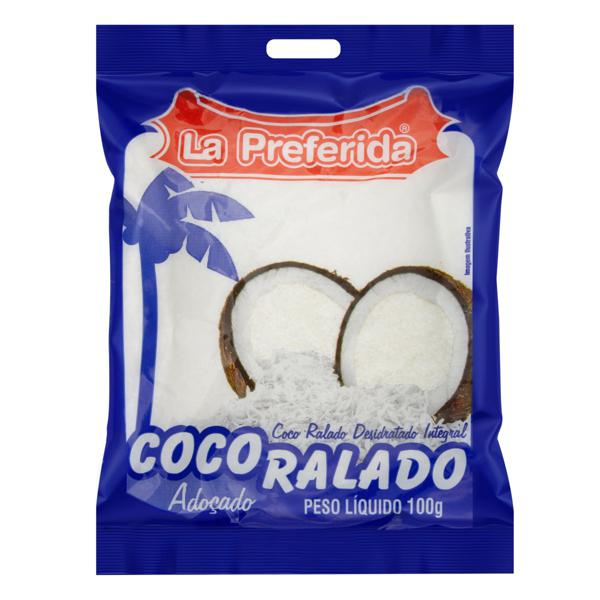 Coco Ralado Desidratado Adoçado Integral La Preferida Pacote 100g