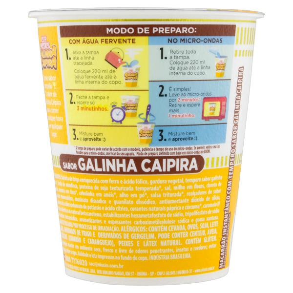 Macarrão Instantâneo Galinha Caipira Nissin Cup Noodles Copo 69g