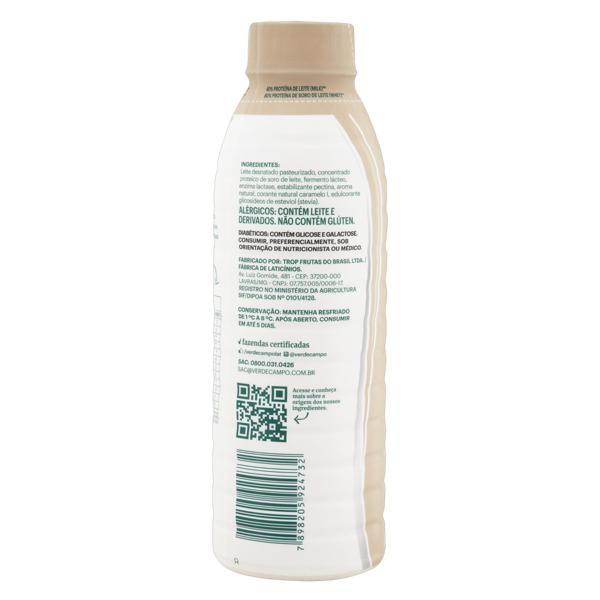 Iogurte Desnatado Cookies & Cream Zero Lactose Verde Campo Natural Whey 28g de Proteína Garrafa 500g