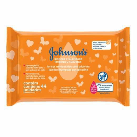 Lenço umidecido Johnson's Baby Limpeza Suavidade com 44 Und