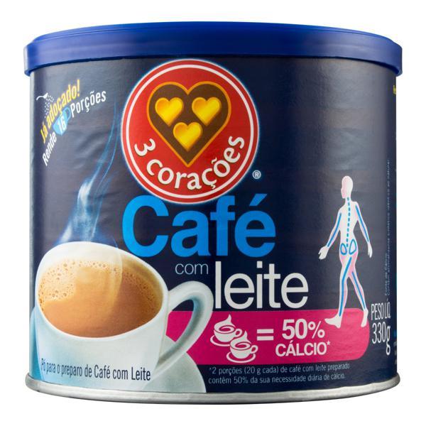 Café com Leite Solúvel Tradicional 3 Corações Lata 330g