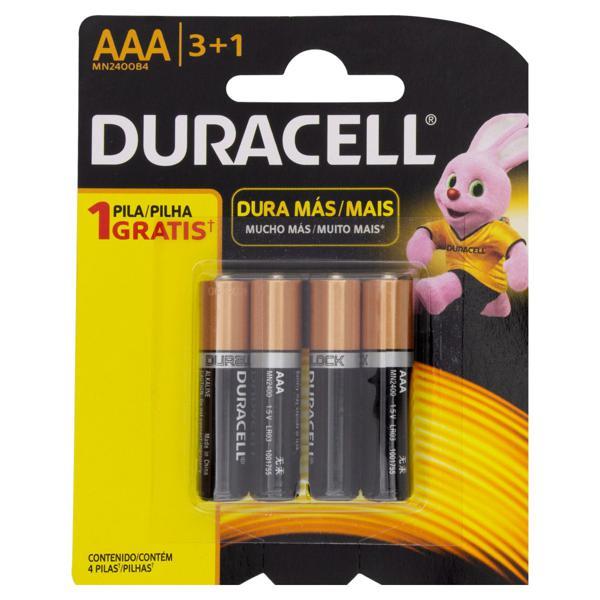 Pilha Alcalina AAA Duracell 4 Unidades 1,5V Grátis 1 Pilha