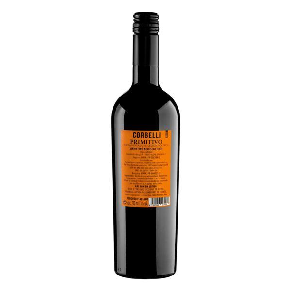 Vinho Italiano Tinto Meio Seco Corbelli Primitivo Puglia Garrafa 750ml