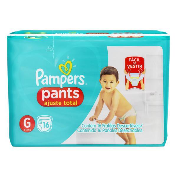 Fralda Descartável Infantil Pants Pampers Ajuste Total G Pacote 16 Unidades